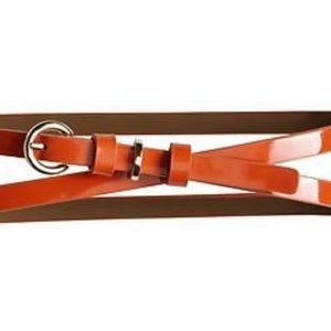 Banana Republic Orange Patent Leather Skinny Belt.